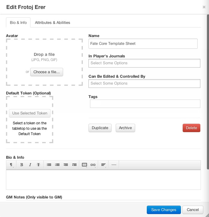Building a FATE Core Character Sheet in Roll 20