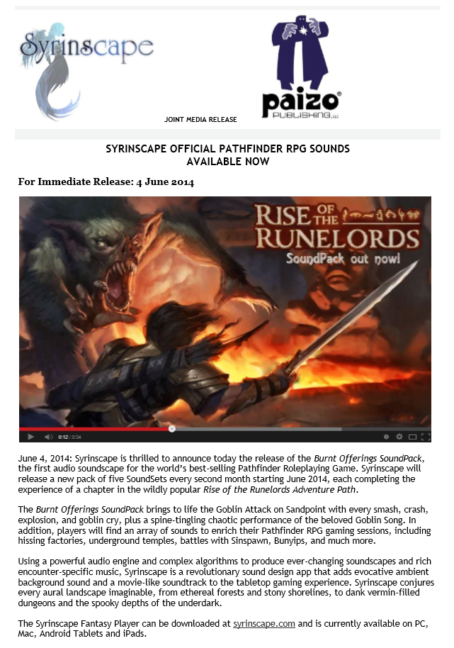 Some Exciting News From Syrinscape and... wait for it PAIZO!