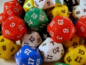 d20 dice are used for Dungeons and Dragons