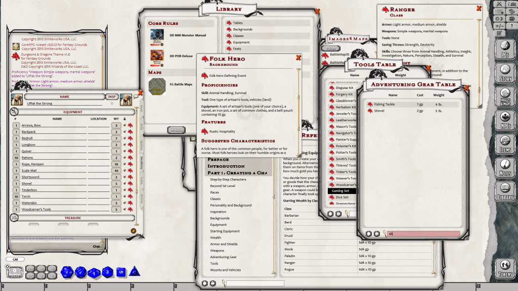 Dungeons and Dragons character generation fantasy grounds