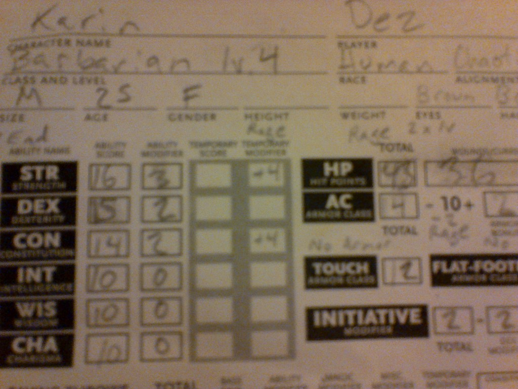 Desiree's character sheet