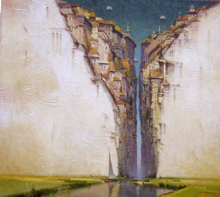 Painting of city split by canyon