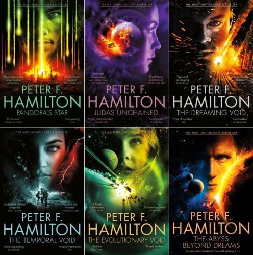 covers of commonwealth saga books Peter F Hamilton