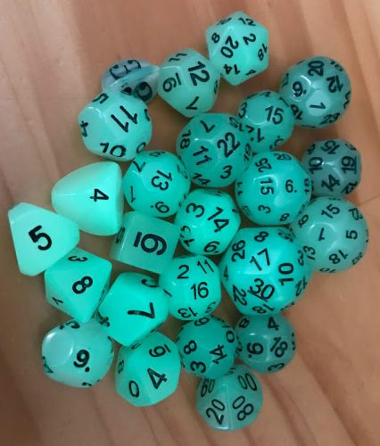 Dice Of Unusual Size that glow!
